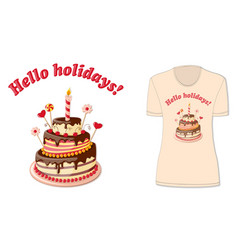 Hello holidays with t-shirts mock-up vector