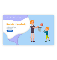 How to be happy family web page with links vector