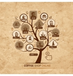 Infographic concept - tree with coffee icons for vector