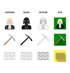 Judge wooden hammer barbed wire pickaxe prison vector