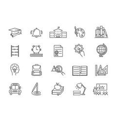 large collection line drawn education icons vector image