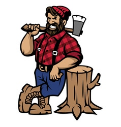 lumberjack lean on the wood log vector image