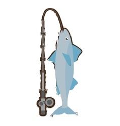 mackerel fish sea life fishing rod vector image