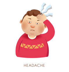 man with headache and suffering from head pain vector image