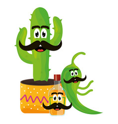 Mexican cactus and chilli pepper emoji characters vector