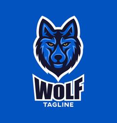 modern wolf mascot logo vector image