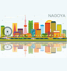Nagoya skyline with color buildings blue sky and vector