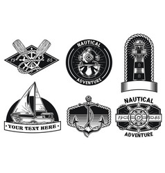 Nautical badge design set vector
