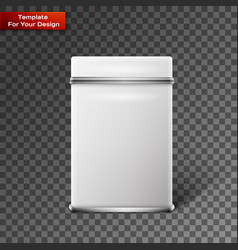 Object white square tin packaging vector