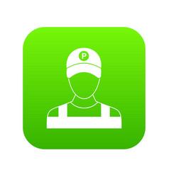 Parking attendant icon digital green vector