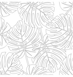 Philodendron monstera leaf seamless outline vector