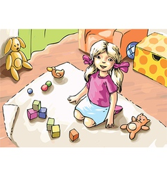 Playing Girl vector image