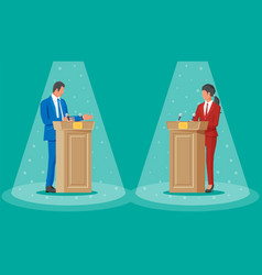 politics discussing between man and woman vector image