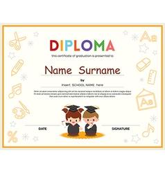 Preschool Kids Diploma certificate template vector