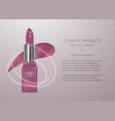 realistic lipstick of light pink color 3d vector image