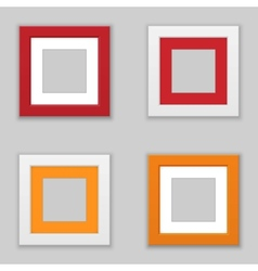 Realistic square picture frame set vector