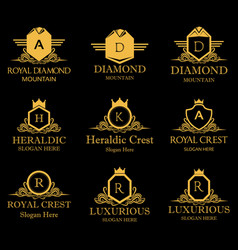 royal heraldic crest design logos icon vector image