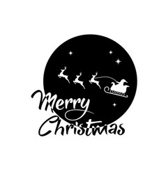 Santa claus reindeer and moon poster with merry vector