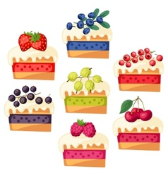Set of cakes with various filling vector image