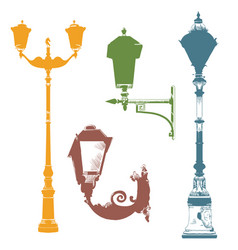 Set of colorful street lanterns-4 vector
