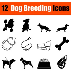 Set of dog breeding icons vector