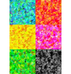 Set of six colorful abstract geometric background vector image