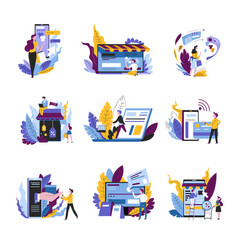 shopping online concept isolated abstract icons vector image