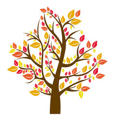 silhouette tree in fall season vector image
