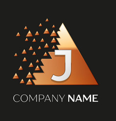 Silver letter j logo symbol in the triangle shape vector