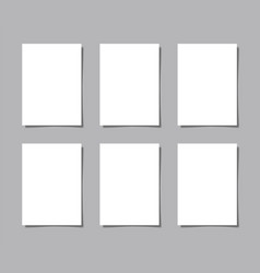 six pieces blank sheet of white paper with the vector image