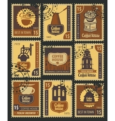 stamps on coffee vector image