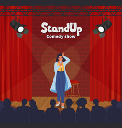 Stand up comedy show female comedian telling vector