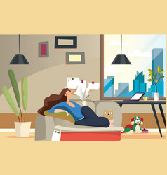 Stay home work homeprotect yourselfgirl keeping vector