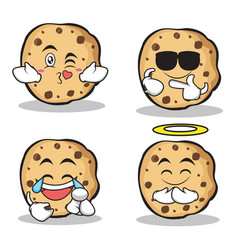 Sweet cookies character cartoon of set vector