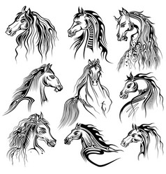 Tattoo art design of horse collection vector