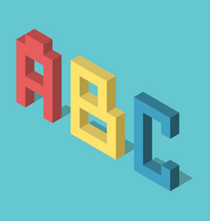 three isometric abc letters vector image
