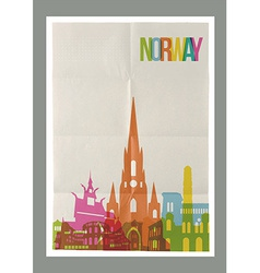 Travel Norway landmarks skyline vintage poster vector image