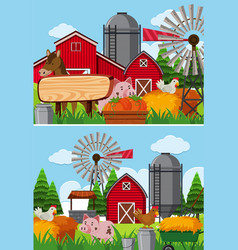 Two scenes of farmland with many animals vector