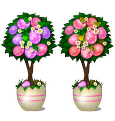 Two trees with leaves and spotted easter eggs vector