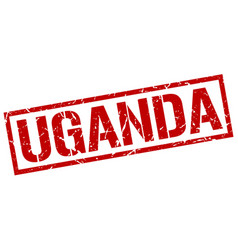 Uganda red square stamp vector