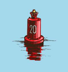 Warning red buoy at river banks vector