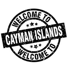 Welcome to cayman islands black stamp vector