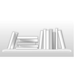 white mockup books on bookshelf realistic vector image
