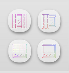 Window coverings and curtains app icons set panel vector