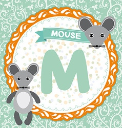 ABC animals M is mouse Childrens english alphabet vector image