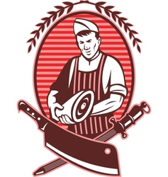 Butcher holding meat knife sharpening tool vector image vector image