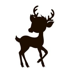 Cartoon reindeer silhouette vector