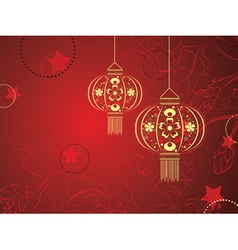 Chinese Lantern with Flowers vector image vector image