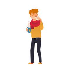 man having cold flu symptoms runny nose fever vector image