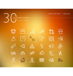 Building trade outline icons set vector image vector image